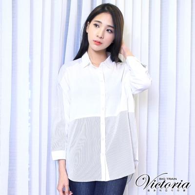 Victoria 條紋拼接寬鬆九分袖襯衫-女-白底黑細條