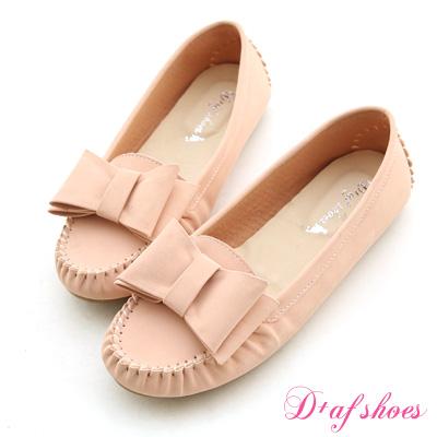 D-AF-俏皮甜心-MIT大蝴蝶結莫卡辛豆豆鞋-裸