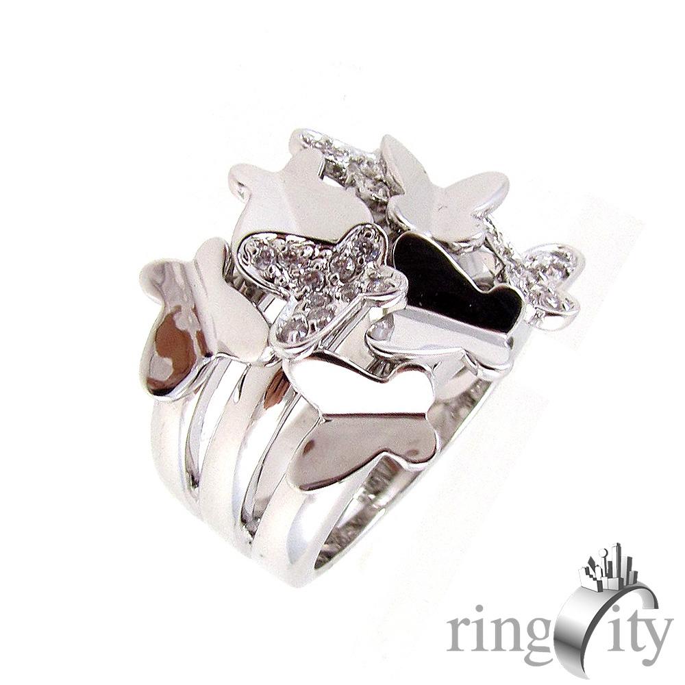 RingCity 白金色蝴蝶造型戒