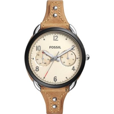 FOSSIL Tailor 復古風尚日曆時尚女錶-卡其x黑框/34mm