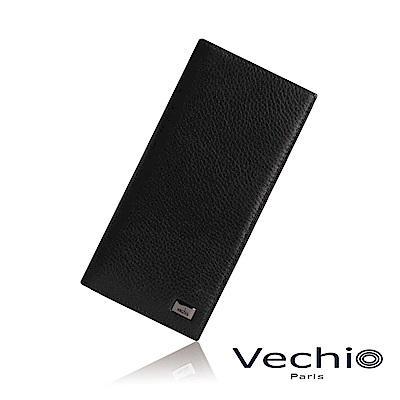 VECHIO - 荔枝壓紋系列14卡長夾 - 經典黑