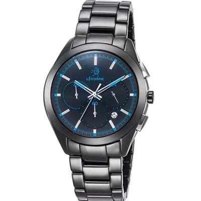 LICORNE 恩萃 Entree  品味時光印刻陶瓷腕錶-藍/43mm