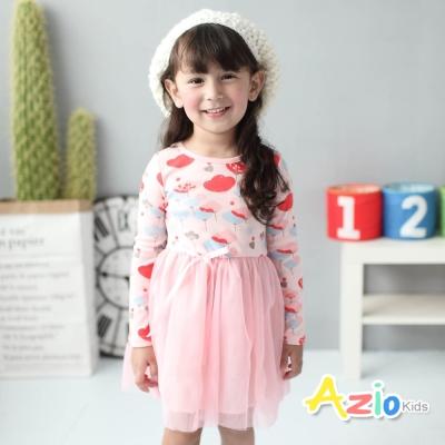 Azio Kids 童裝-洋裝 紅藍花朵網紗拼接長袖洋裝(粉)