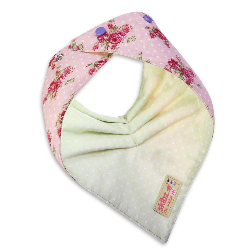 英國 Skibz 經典玫瑰時尚雙面口水巾圍兜