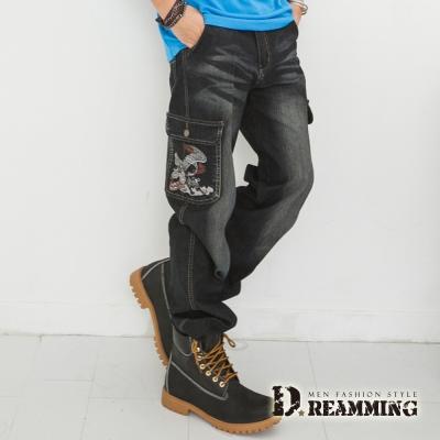 Dreamming 電繡仙鶴多口袋伸縮直筒牛仔褲