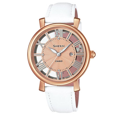 SHEEN經典華洛世奇水晶鏤空設計皮帶錶(SHE-4047PGL-7A)白34mm