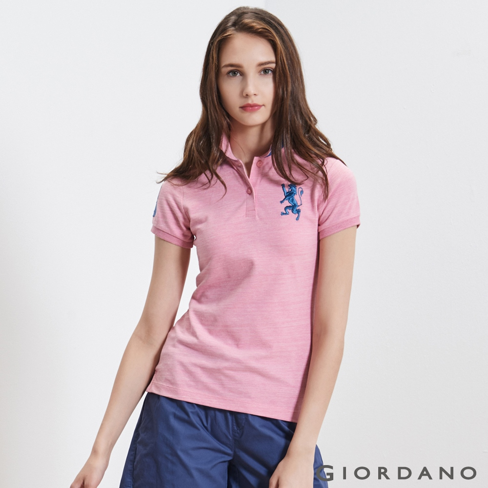 GIORDANO女裝勝利獅王3D刺繡彈力萊卡POLO衫-22仿段彩薔薇粉紅