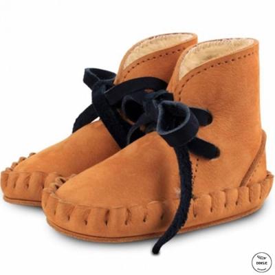 Donsje 荷蘭 焦糖咖款內刷毛蝴蝶結真皮寶寶綁帶靴子