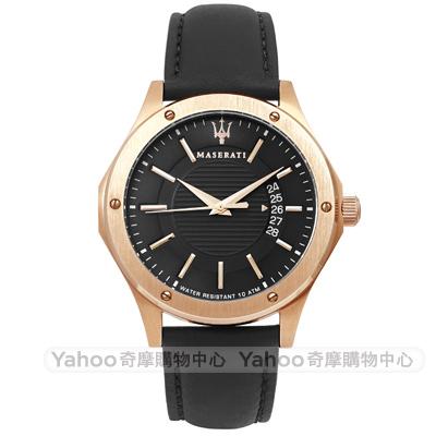 MASERATI 瑪莎拉蒂 CIRCUITO 經典三針時尚手錶-黑x玫瑰金框/42mm