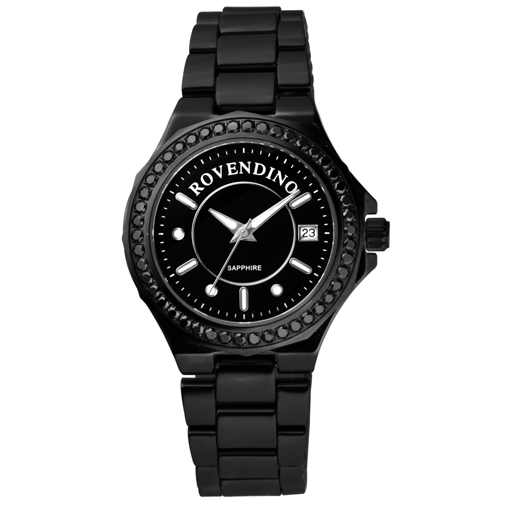 Roven Dino 羅梵迪諾 馨彩時尚晶鑽陶瓷腕錶-黑/35mm