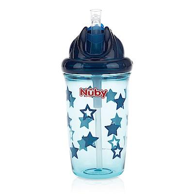 Nuby 晶透學飲杯粗吸管300ml-藍(12M+)