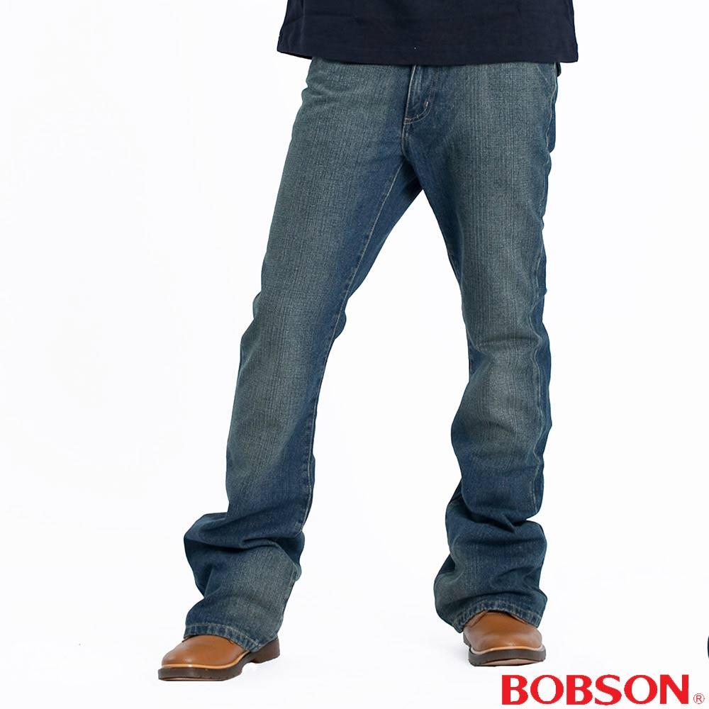 BOBSON   男款低腰小喇叭褲-中藍