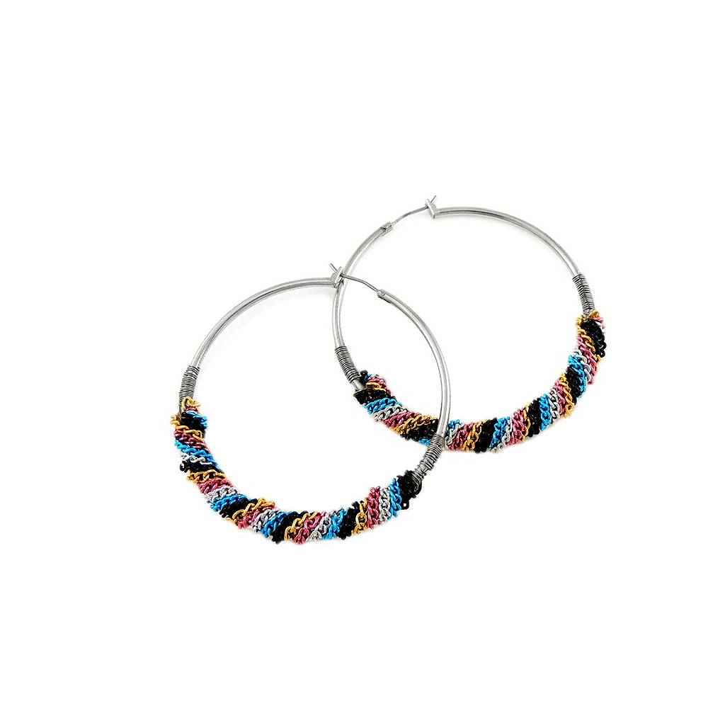 GUESS 彩色金屬纏繞式環形耳環