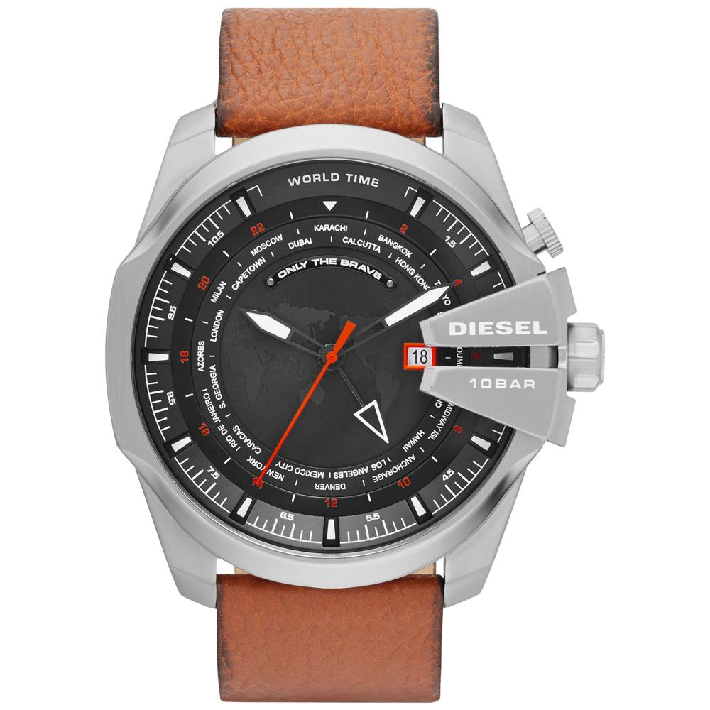 DIESEL 掌握世界二地時區腕錶-黑x咖啡皮帶/52mm