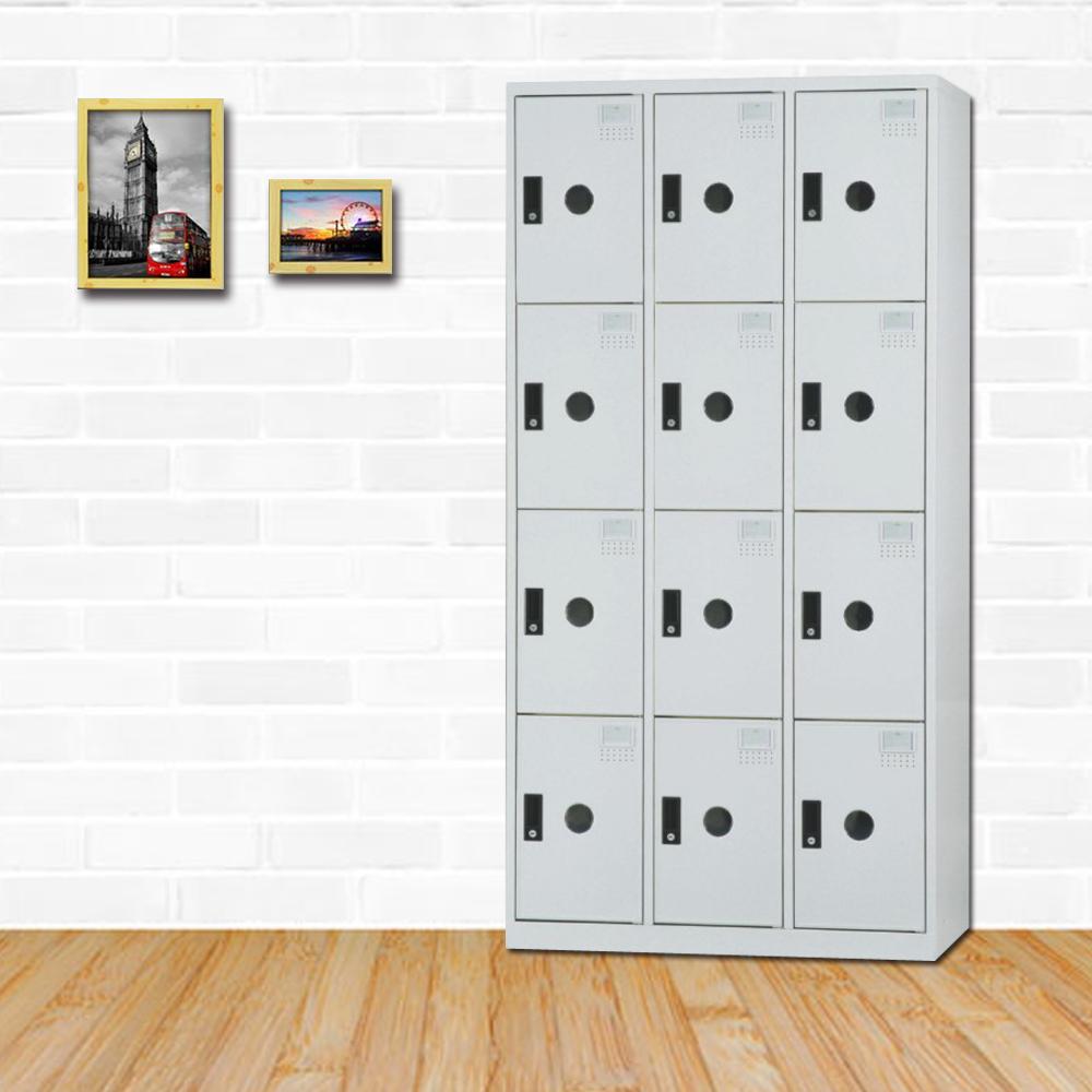 時尚屋 德瑞克多用途塑鋼製12格置物櫃 寬90x深35x高180cm