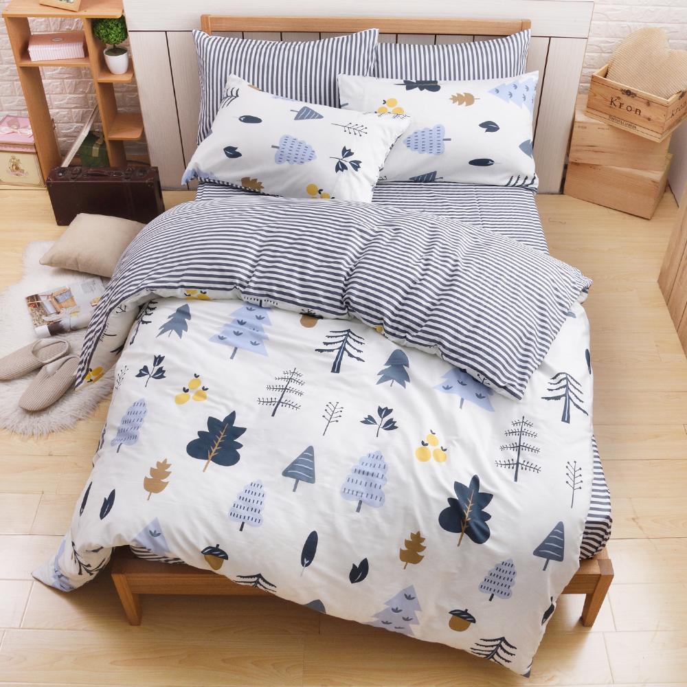 日本濱川佐櫻-北歐小品 台灣製加大四件式精梳棉兩用被床包組