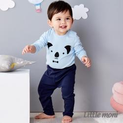 Little moni 純棉家居系列素面長褲 深藍