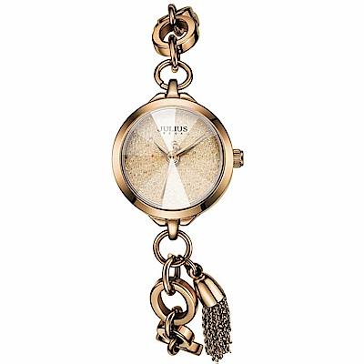 JULIUS聚利時 季節女神流蘇唯美鍊式腕錶-古銅金/22mm
