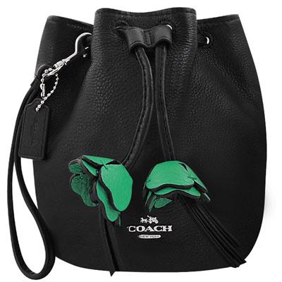 COACH 黑色皮革壓紋水桶手提包