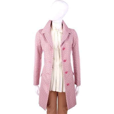 MOSCHINO 粉色菱格紋翻領排釦設計長版外套