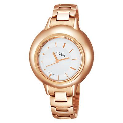 ALBA 輕盈美感泡泡女孩腕錶(AH8144X)-白x玫塊金/34mm