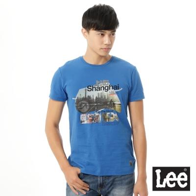 Lee 短袖T恤 上海市彩色圖案印刷 -男款(藍)