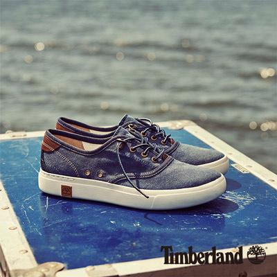 Timberland-女款靛藍色素面綁帶休閒淺口鞋