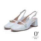 達芙妮x高圓圓 圓漾系列 高跟鞋-復古瑪莉珍後拉帶粗跟鞋-白