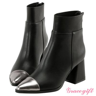 Grace gift X Kerina妞妞-彈性拼接後拉鍊尖頭短靴 金屬