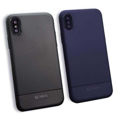 Obien iPhone X 全包式TPU碳纖維紋保護殼