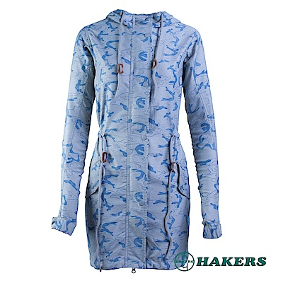 【HAKERS】-女-長版連帽外套-灰色