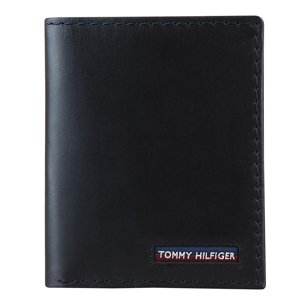 TOMMY HILFIGER 經典LOGO簡約對折短夾(黑)