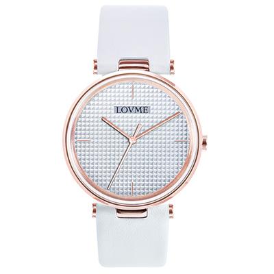 LOVME 簡約時尚菱格紋腕錶-IP玫x銀白/40mm