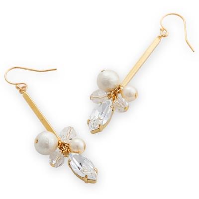 CARUTINA Grain系列水晶珍珠垂墜耳環(針式/夾式)