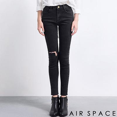 AIR-SPACE-個性刷破修身窄管牛仔褲-黑