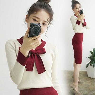 正韓-綁帶配色上衣-及膝裙針織套裝組-酒紅-Pin