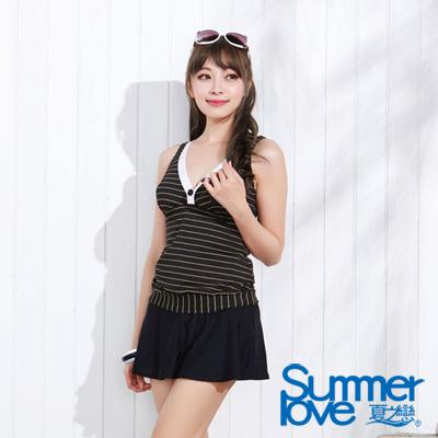 夏之戀SUMMERLOVE 比基尼泳裝 顯瘦條紋長版二件式泳衣 黑色