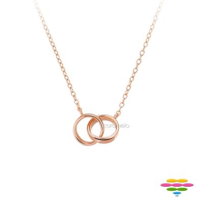 彩糖鑽工坊 雙環項鍊 銀鍍玫瑰金項鍊 桃樂絲 Doris系列