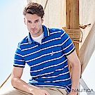 Nautica雙色條紋短袖POLO衫 -藍