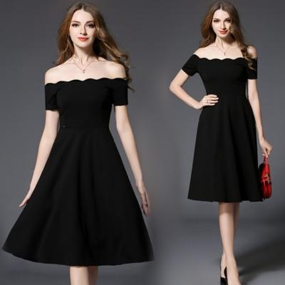 一字波浪領領露肩黑色禮服洋裝