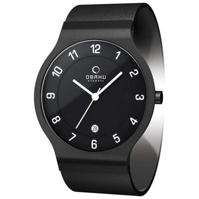 OBAKU 極簡時代數字時尚腕錶-全黑/皮帶// 38 mm
