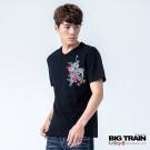 BIG TRAIN 猛虎牡丹V領TEE-男-黑