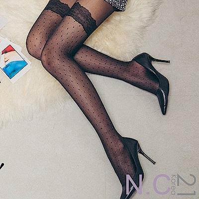 N.C21- 正韓 浪漫蕾絲菱格點點透膚絲襪 (黑色)