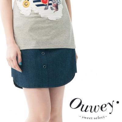 OUWEY歐薇-扣子造型牛仔裙