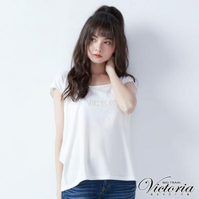 Victoria 珍珠亮片縫繡變化短袖T-女-白色