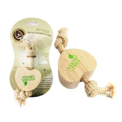 NaturalCrunch 實木狗咬磨牙潔牙玩具-愛心麻繩