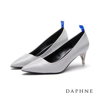 達芙妮DAPHNE 高跟鞋-螢光後拉帶透明鞋跟尖頭鞋-淺灰