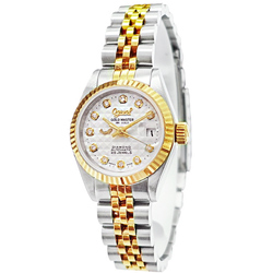 Ogival 愛其華華麗真鑽18K金雙色機械錶-白X金/26mm