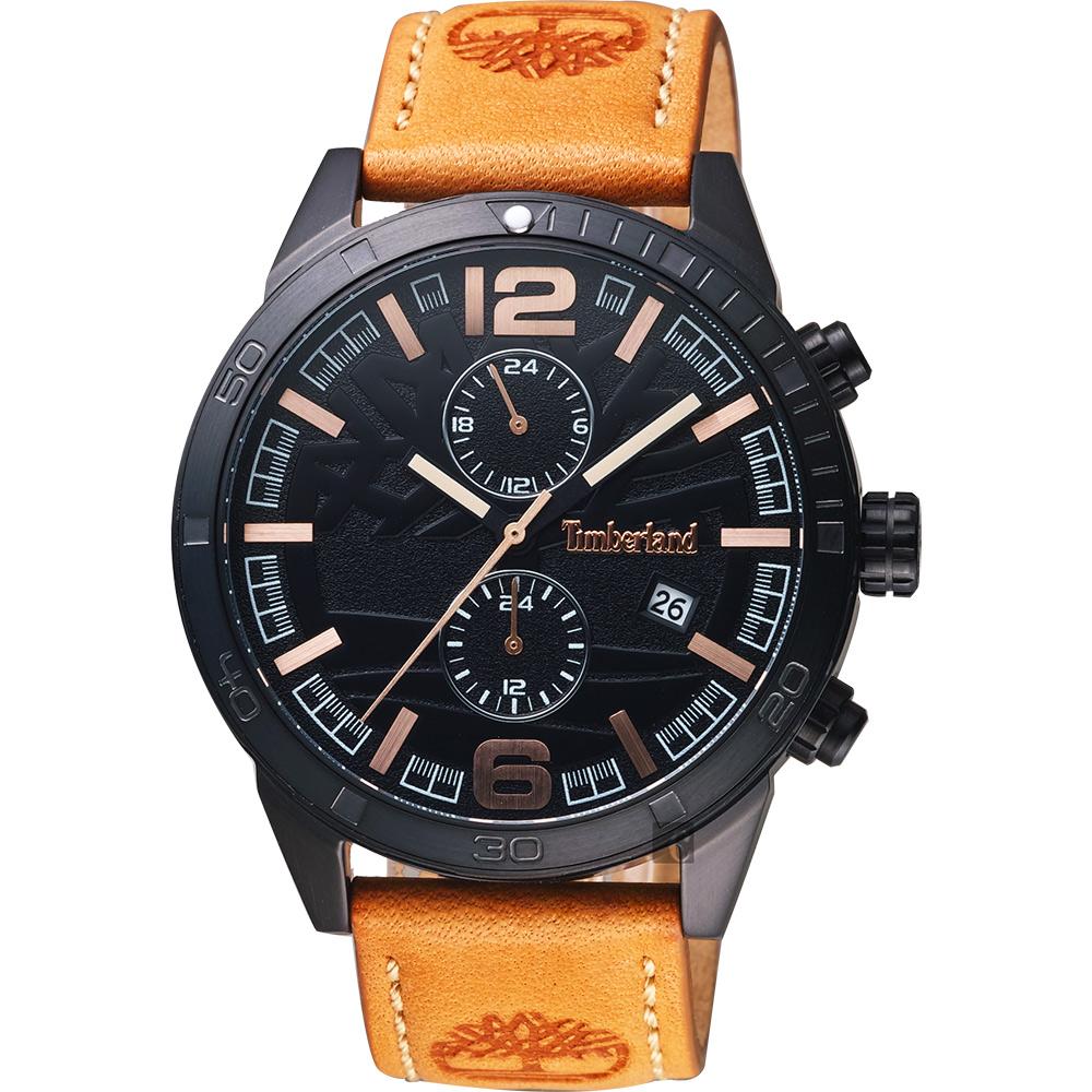 Timberland天柏嵐 二地時區手錶-鐵灰x棕/46mm