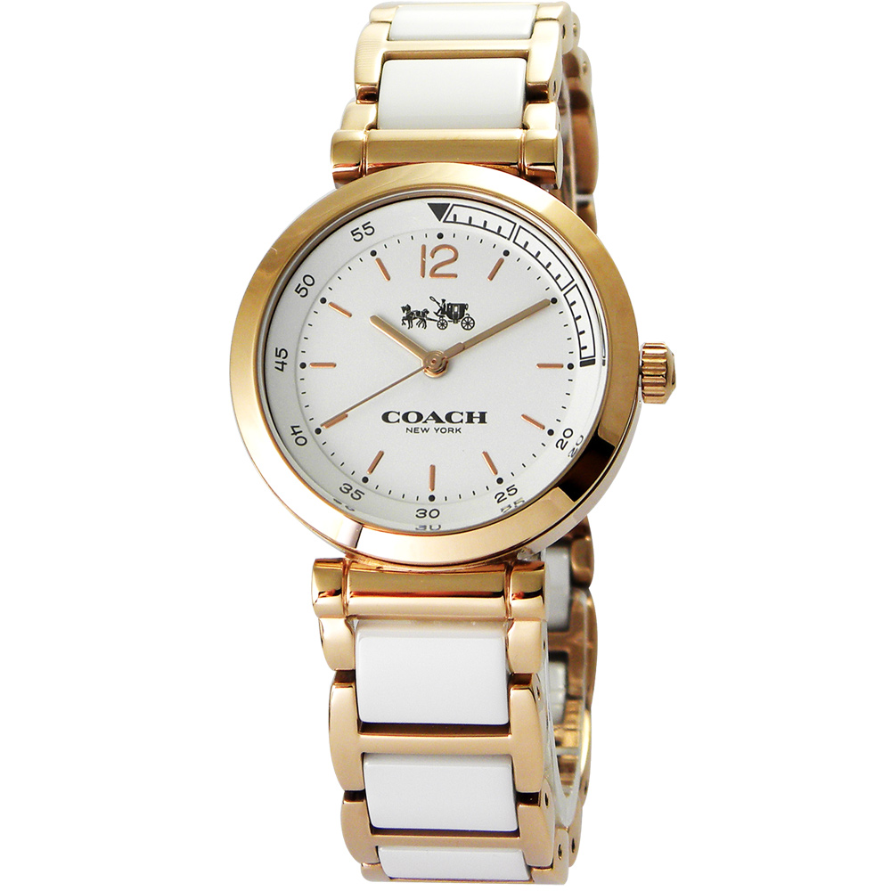 COACH浪漫紐約馬車圖騰陶瓷腕錶14502463-白30mm